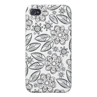 flores negras delicadas en blanco iPhone 4 carcasas