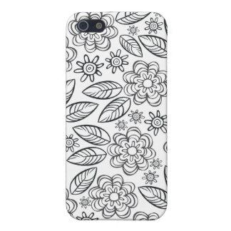 flores negras delicadas en blanco iPhone 5 cárcasa