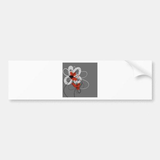 Flores negras, grises y rojas etiqueta de parachoque