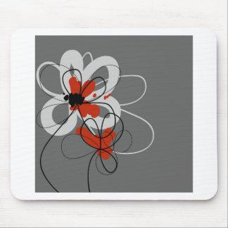 Flores negras grises y rojas tapetes de ratones