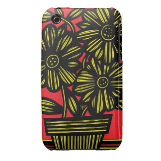 Flores negras rojas amarillas florales Case-Mate iPhone 3 protector