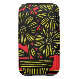 Flores negras rojas amarillas florales tough iPhone 3 fundas