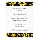 Flores negras y amarillas comunicado personalizado