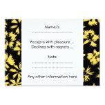 Flores negras y amarillas invitación 8,9 x 12,7 cm