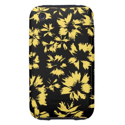 Flores negras y amarillas iPhone 3 tough carcasas