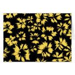 Flores negras y amarillas tarjeta de felicitación