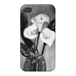 flores negras y blancas iPhone 4/4S carcasa