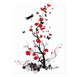 Flores negras y rojas tarjeta postal