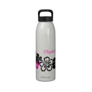 Flores negras y rosadas del Hawaiian del hibisco Botellas De Agua Reutilizables