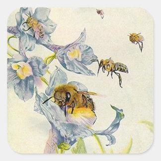 Flores orgánicas de las abejas del apicultor de la pegatina cuadrada