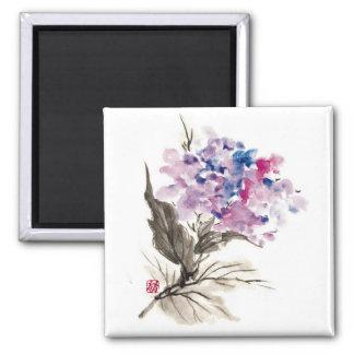 Flores orientales frescas de la acuarela de la obr imán de nevera