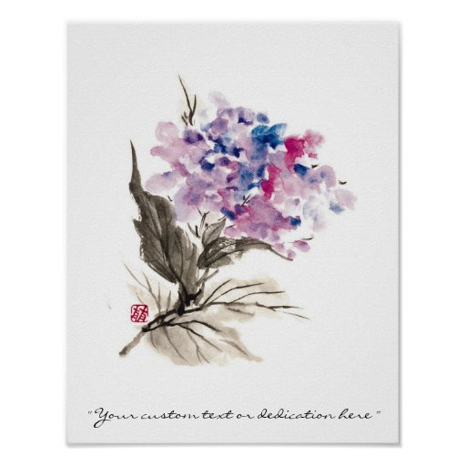 Flores orientales frescas de la acuarela de la póster