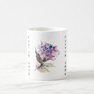 Flores orientales frescas de la acuarela de la taza