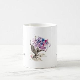 Flores orientales frescas de la acuarela de la taza de café