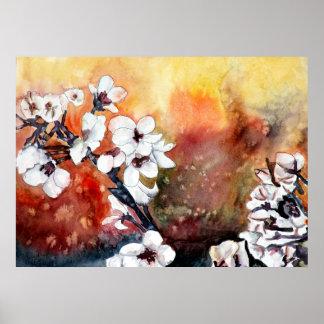 Flores orientales japonesas de la flor de cerezo póster