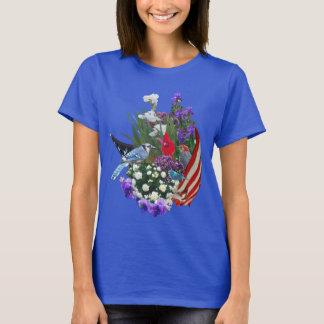flores, pájaros y camiseta de la bandera 2r