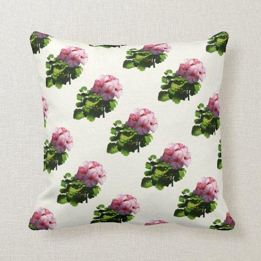 Flores - palidezca - geranio rosado cojin