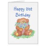 Flores para el 21ro cumpleaños, oso de peluche felicitación