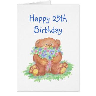 Flores para el 25to cumpleaños, oso de peluche lin tarjeta de felicitación