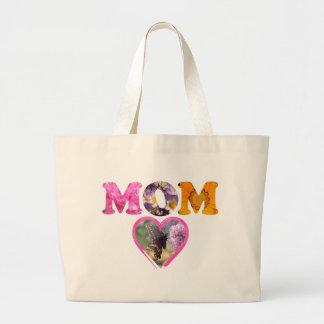 Flores para el bolso de la mamá bolsa tela grande