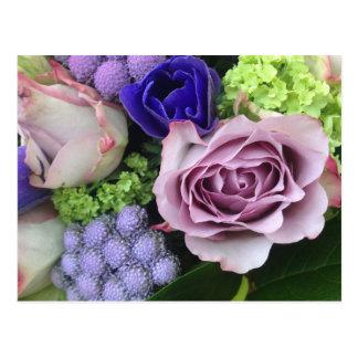 Flores parisienses púrpuras tarjetas postales