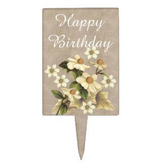 Flores pasadas de moda decoración de tarta