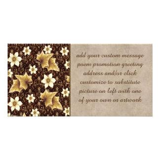 Flores pasadas de moda tarjetas fotograficas personalizadas