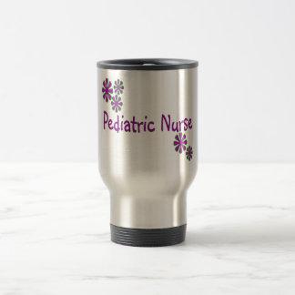 Flores pediátricas de la púrpura de la enfermera taza de viaje de acero inoxidable