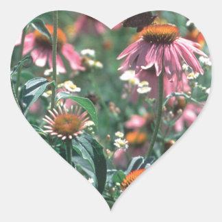Flores Pegatina En Forma De Corazón