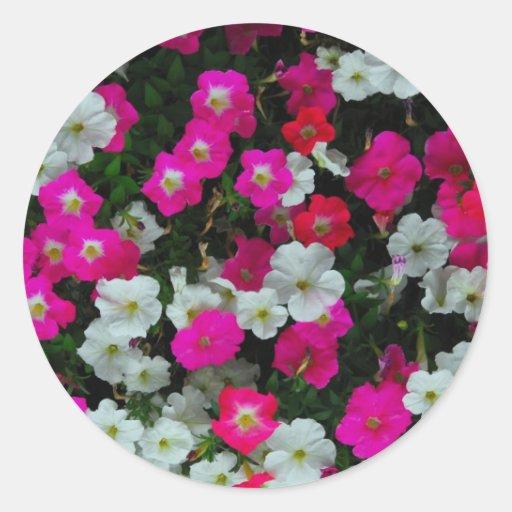 flores pegatina redonda