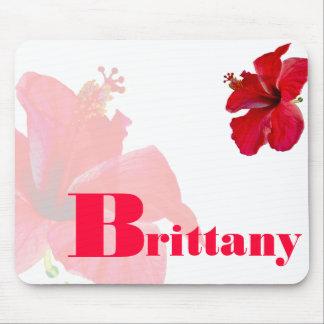 Flores personalizadas del hibisco de Hawaii Tapetes De Ratones