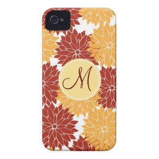 Flores personalizadas del rojo anaranjado de la in Case-Mate iPhone 4 funda
