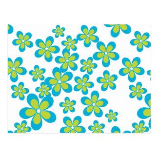 Flores, pétalos, flores - blanco azulverde postales
