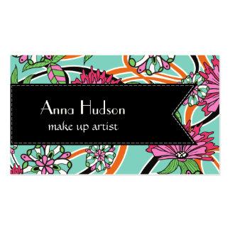 Flores, pétalos, hojas, remolinos - azul rosado plantillas de tarjetas de visita