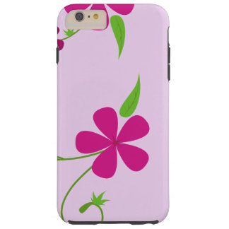 Flores, pétalos, hojas, remolinos - rosa verde funda de iPhone 6 plus tough
