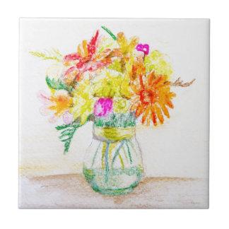 Flores pintadas a mano azulejo cuadrado pequeño
