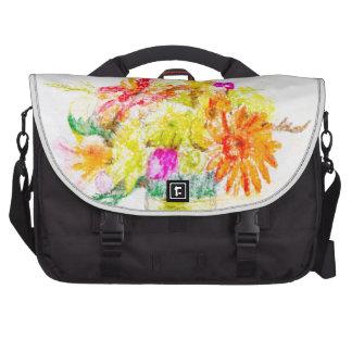 Flores pintadas a mano bolsa de ordenador