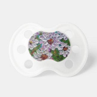 Flores pintadas a mano de la dalia chupete de bebé