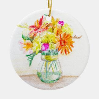 Flores pintadas a mano adorno redondo de cerámica