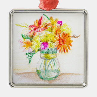 Flores pintadas a mano adorno cuadrado plateado