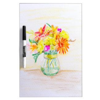 Flores pintadas a mano pizarras blancas de calidad