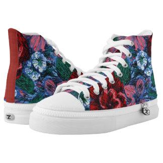 Flores pintadas florales antiguas de las zapatillas