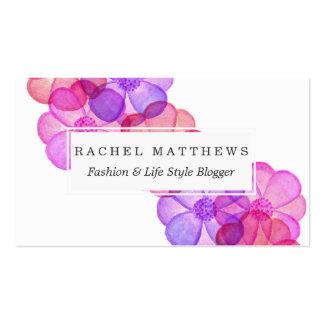 Flores pintadas fucsia púrpura rosado de la tarjetas de visita