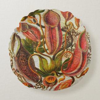 Flores pintadas magníficas del vintage cojín redondo