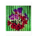 Flores Pintadas no Bambu Cartoes Postais