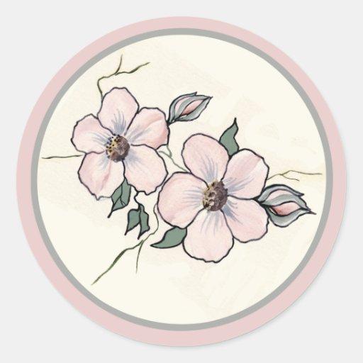 Flores pintados a mano etiqueta redonda