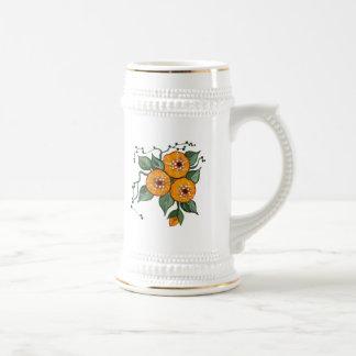 Flores pintados a mano jarra de cerveza