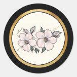 Flores pintados a mano pegatinas redondas