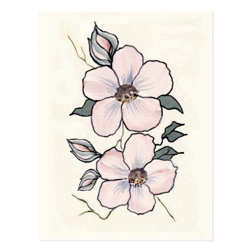 Flores pintados a mano tarjeta postal