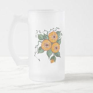 Flores pintados a mano taza de cristal